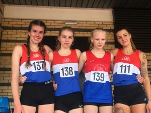 Leah (pictured far right) won Gold in the 1500m at the Staffs Track Championships